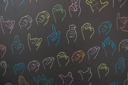 Foto de dynamic symbols of sign language - Imagen libre de derechos