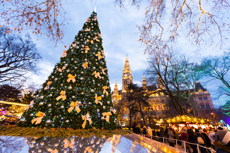 Foto per Vienna Town Hall Rathausplatz Christmas Market - Immagine Royalty Free