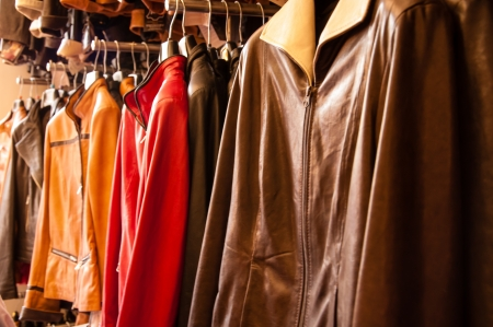 Photo for leather jackets on a rack - Royalty Free Image