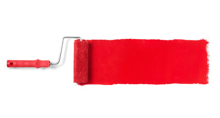 Foto de Paint roller isolated on white - Imagen libre de derechos