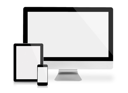 Foto de Computer monitor, tablet and phone, frontal view, isolated on white - Imagen libre de derechos
