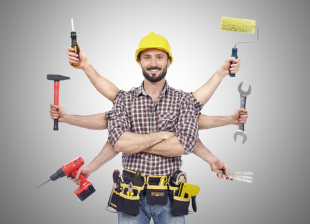 Foto per Handyman with tools - Immagine Royalty Free