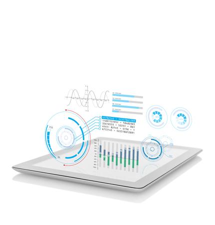 Foto de Diagram projection on digital tablet - Imagen libre de derechos