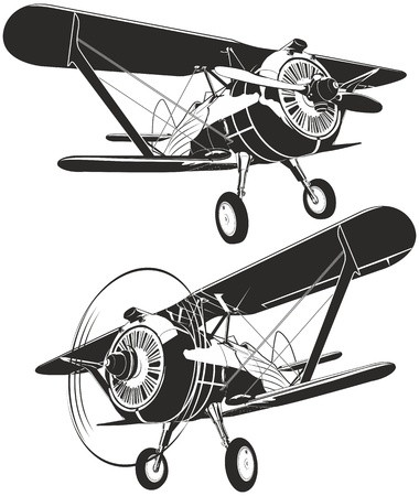 Vector retro biplane