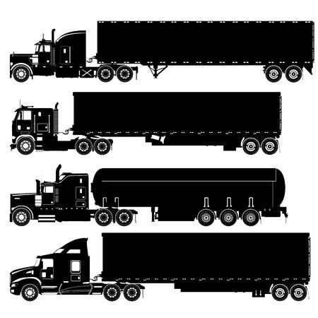 Vector detailed trucks silhouettes set