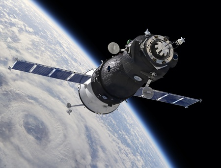 Spaceship Soyuz TMA at the Earth orbit
