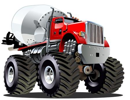Illustration pour Cartoon Mixer Monster Truck - image libre de droit