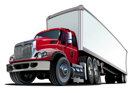 Illustration pour Cartoon semi truck.   - image libre de droit