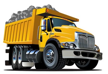 Illustration pour Vector Cartoon Dump Truck - image libre de droit
