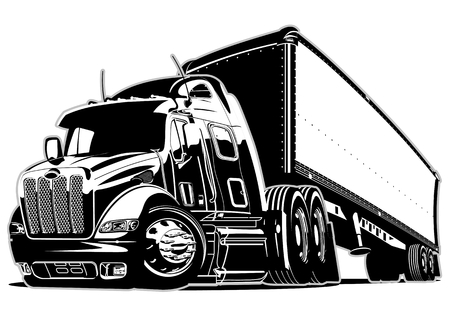Illustration pour Cartoon semi truck - image libre de droit