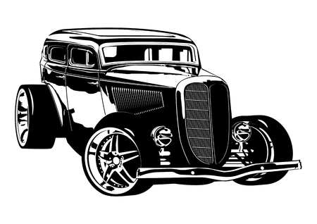 Illustration pour Retro Hotrod. Available vector format separated by groups and layers for easy edit - image libre de droit