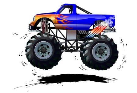 Illustrazione per Cartoon Monster Truck. Available  separated by groups and layers with transparency effects for one-click repaint - Immagini Royalty Free