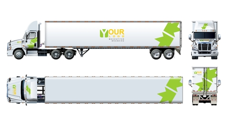 Illustration pour Vector truck template isolated on white. Available EPS-10 separated by groups and layers with transparency effects for one-click repaint and clipping mask for branding - image libre de droit