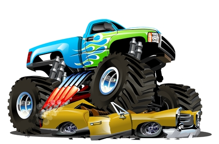 Illustration pour Vector Cartoon Monster Truck. Available EPS-10 separated by groups and layers with transparency effects for one-click repaint - image libre de droit