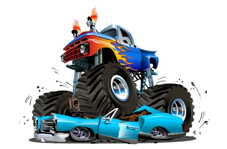 Illustrazione per Vector Cartoon Monster Truck. Available EPS-10 separated by groups and layers with transparency effects for one-click repaint - Immagini Royalty Free