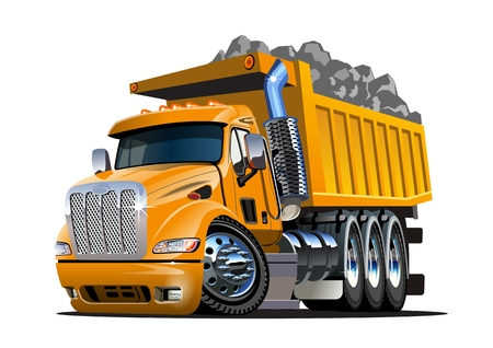 Illustrazione per Vector Cartoon Dump Truck. Available EPS-10 vector format separated by groups and layers for easy edit - Immagini Royalty Free