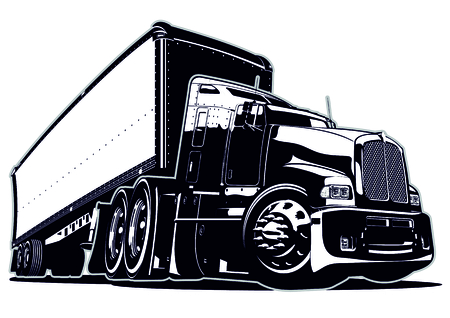 Illustration pour Cartoon semi truck. Available vector format separated by groups and layers for easy edit - image libre de droit