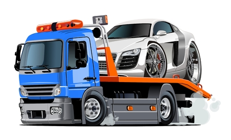 Illustration pour Cartoon tow truck isolated on white background. Available EPS-10 vector format separated by groups and layers for easy edit - image libre de droit