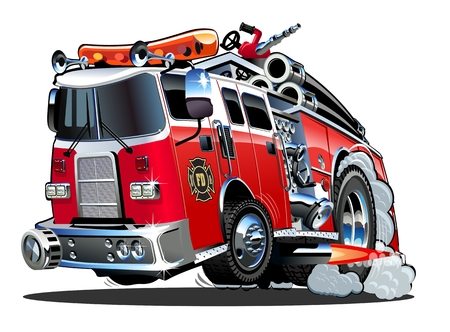 Illustrazione per Vector cartoon firetruck. Available EPS-10 vector format separated by groups and layers for easy edit - Immagini Royalty Free