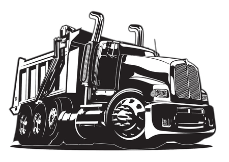 Illustrazione per Vector Cartoon Dump Truck. - Immagini Royalty Free