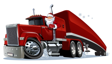 Illustrazione per Cartoon retro Christmas semi truck. Available eps-10 vector format separated by groups and layers for easy edit - Immagini Royalty Free