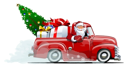 Illustration pour Cartoon retro Christmas delivery pickup. Available eps-10 vector format separated by groups with transparency effects for one-click repaint - image libre de droit
