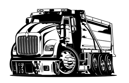 Illustrazione per Vector Cartoon Dump Truck. vector format separated by groups and layers for easy edit - Immagini Royalty Free