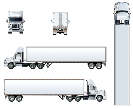 Illustration pour Vector truck template isolated on white. Available EPS-10 separated by groups and layers with transparency effects for one-click repaint - image libre de droit