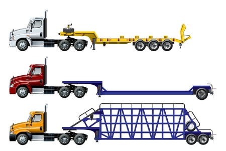 Illustration pour Vector semi trucks set isolated on white. Available EPS-10 separated by groups and layers with transparency effects - image libre de droit