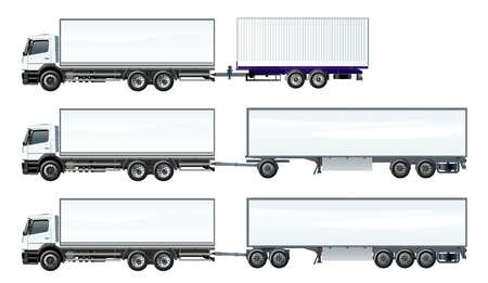 Illustration pour Vector road trains set template isolated on white. Available EPS-10 separated by groups and layers - image libre de droit