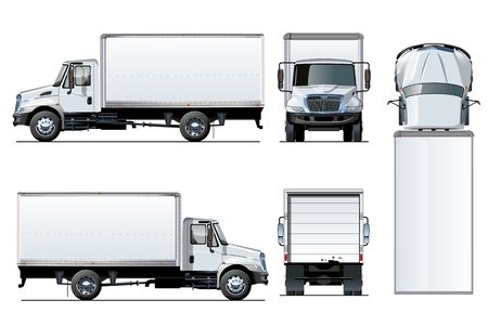 Photo pour Vector truck template isolated on white.  With transparency effects for one-click repaint and clipping mask for branding - image libre de droit