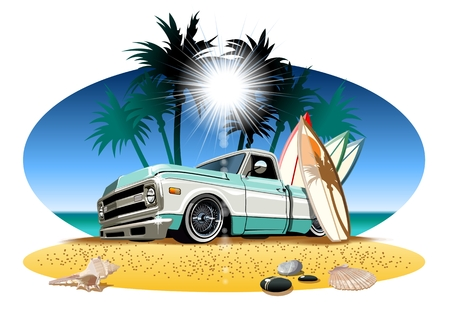 Illustration pour Vector cartoon retro camper pickup. Available  vector format separated by groups and layers for easy edit - image libre de droit