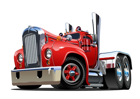 Illustration pour Cartoon retro semi truck isolated on white background. Available EPS-10 vector format separated by groups and layers for easy edit - image libre de droit