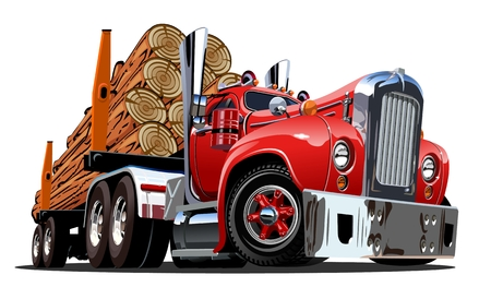 Illustration pour Cartoon retro logging truck isolated on white background. Available EPS-10 vector format separated by groups and layers for easy edit - image libre de droit
