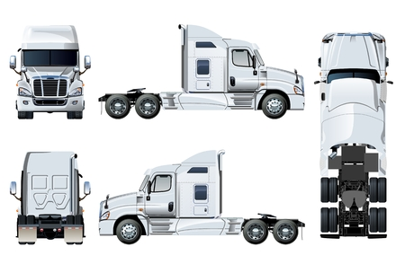 Illustrazione per Vector semi-truck template isolated on white. Side, front, back, top view. EPS-10 separated by groups and layers for easy edit - Immagini Royalty Free