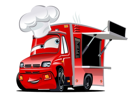 Illustrazione per Cartoon food truck isolated on white background. - Immagini Royalty Free
