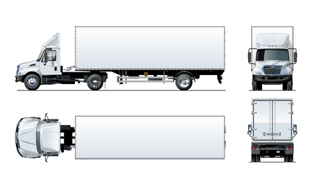 Illustrazione per Vector semi truck template isolated on white for car branding and advertising. Available EPS-10 separated by groups and layers with transparency effects for one-click repaint. - Immagini Royalty Free
