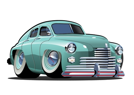 Ilustración de Cartoon retro car. Available eps-10 vector format separated by groups and layers with transparency effects for one-click repaint - Imagen libre de derechos