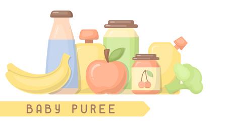 Ilustración de Baby food card with inscription. Flat style vector illustration. Suitable for advertising - Imagen libre de derechos