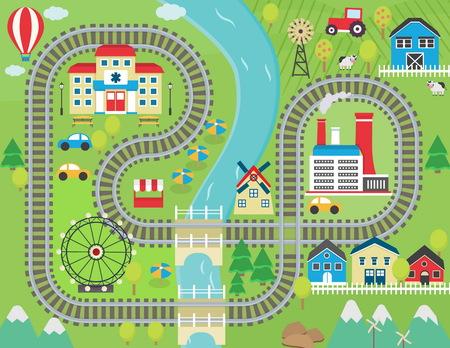 Ilustración de Lovely city landscape train track play mat for children activity and entertainment. Sunny city landscape with mountains, farm, factory, buildings, plants and endless train rails. - Imagen libre de derechos