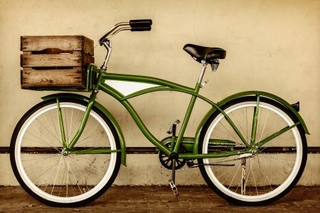 Photo for Retro styled sepia image of a vintage beach cruiser bicycle with wooden crate - Royalty Free Image