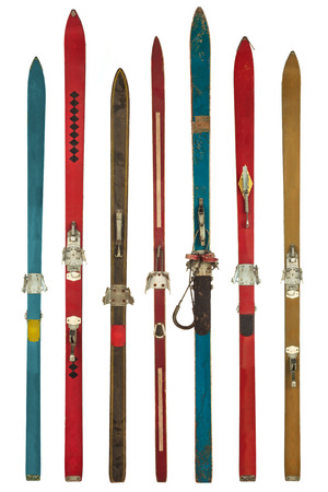 Set of seven retro colorful skis isolated on a white background