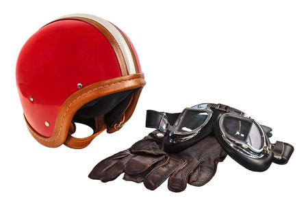 Foto de Vintage motor helmet with goggles and gloves isolated on a white background - Imagen libre de derechos