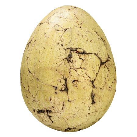 Foto de Ancient fossil stone egg with cracks isolated on a white background - Imagen libre de derechos