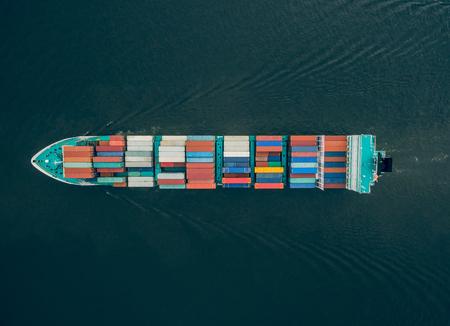 Foto de Top view of container vessel in the sea - Imagen libre de derechos