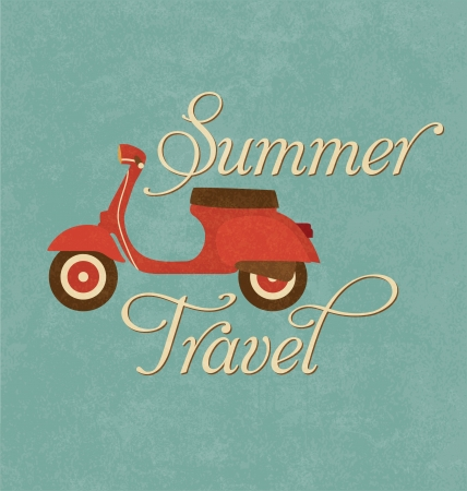 Foto de Summer Travel Design - Red Scooter - Imagen libre de derechos