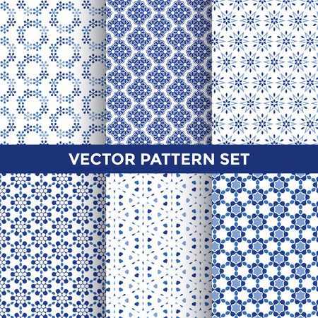 Illustration pour Universal Vector Pattern Set - Collection of Six Blue Pattern Designs on White Background - image libre de droit