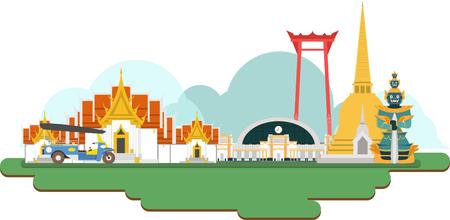 Illustration pour Thailand Travel Landmarks. Vector and Illustration - image libre de droit