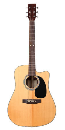 Photo for Classic shape western acoustic guitar isolated white background with clipping path. Musical instruments shop or learning school concept - Royalty Free Image