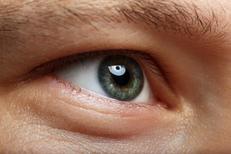 Foto de Male right green eye extreme closeup. Oculist and perfect vision concept - Imagen libre de derechos